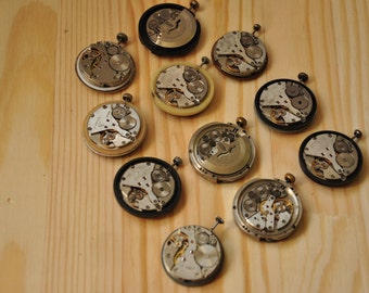 Watch Movements with faces - set of 11, watch parts,Soviet Watch Raketa, Clock- Steampunk Supplies,USSR, A17