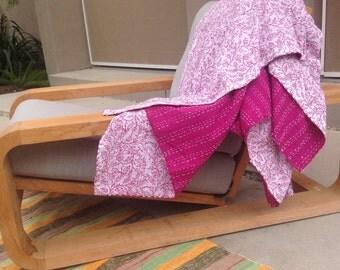 Block Printed Kantha Throw Blanket