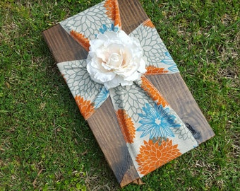 Rustic Wooden & Fabric Cross