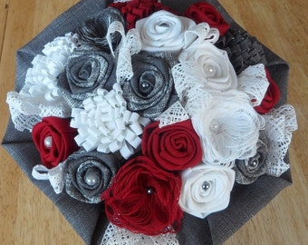 Bridal bouquet fabric and lace