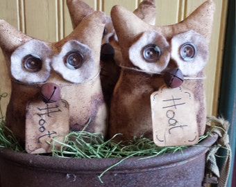 Primitive Owl Bowl Fillers,  Owl Ornies,  Shelf Tuck, Cupboard Tuck, Summer Owls