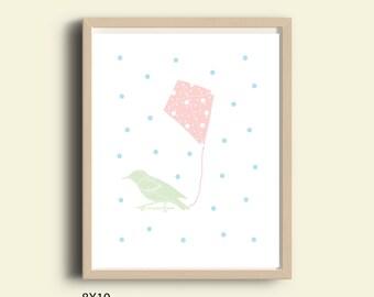 Nursery decor, nursery wall art, nursery prints, baby print, printable nursery, neutral kids room orint pink mint, light blue, bird, kite