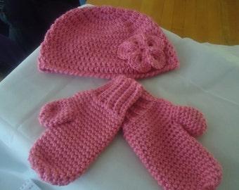 Handmade crochet hat and mitten set
