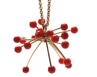 Trailer 750 gold coral red ball unique design jewelry hand made in Germany