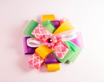 Purple, Pink, Yellow and Green Spring Hair Bow