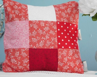Pink and Red Floral Patchwork Pillow