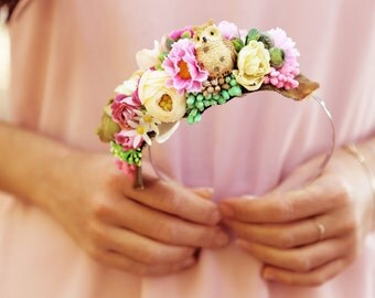 Emily - Colorful silk flowers and stamina headband with porcelain owl, for brides weddings