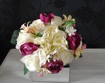 silk wedding bouquet ivory bouquet deep pink rannculas tiny orchids hydrangea  tiny daisy's silk bouquet bridesmaid bouquet wedding bouquet