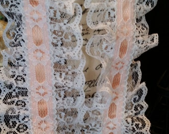 3 inch lace with peach satin trim