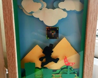 Mario 3d papercut frame 8x6