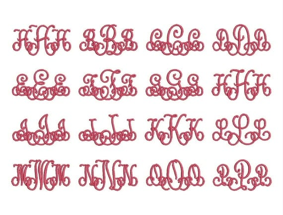Lace monogram font embroidery fonts size