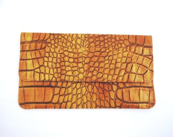 Crock Embossed Leather Pouch