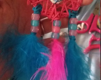 Blue and Pink Seashell Dream Catcher