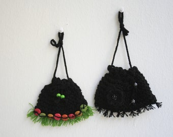 Hand-knitted black pouch set Decorative wall hangings