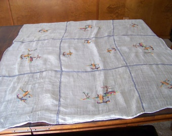 Vintage Sheer Linen Tablecloth with Embroidery