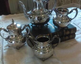 Four Piece Silverplate Tea Set, Warren