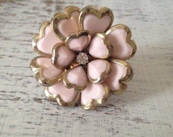 Flower ring, gold ring,  statement ring, vintage ring, pink ring, jewellery