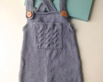 Romper blue-grey knitted hand