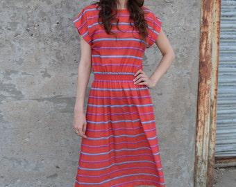 1980s Rust Striped Dress