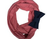 Faded Red with Navy Bow Cozy Stretch Infinity Scarf Circle Scarf / Woman Scarf  / Loop Scarf / Womans Fashion / Jersey Scarf /  Bow Scarves