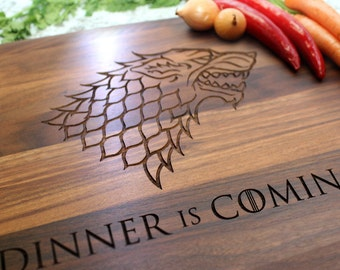 Game of Thrones, Dinner is Coming Personalized Cutting Board, Custom Cutting Board, Gift For Couple, Gift For Him, Wedding Gift W-029 GB