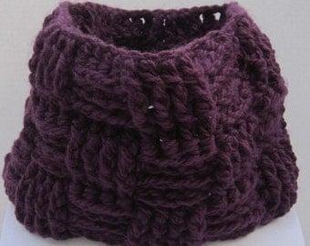 Katrina - Basketweave Crochet Cowl Neckwarmer Warm Chunky scarf, handmade scarf, ready to ship