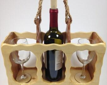 Elegant Two-Tone Wine Caddy