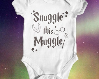 Snuggle this Muggle Harry Potter Baby Bodysuit | Harry Potter Baby Clothes | Baby Shower Gift | Funny Baby Bodysuit | Take Home Outfit