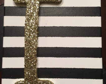 Wall art, wooden glitter letter with stripes.