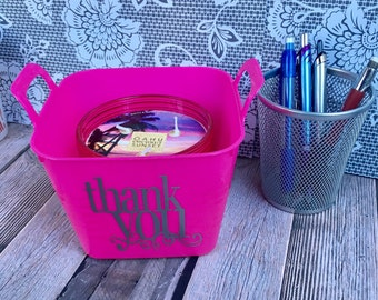 Thank You Small Plastic Tub/Basket - Customized Plastic Tub/Basket