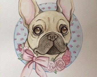 French Bulldog portrait illustration