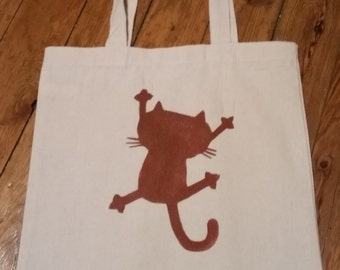 Bag Tote Bag cotton Brown cat who rips