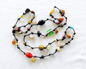 HANDMADE Multi Beads & Natural Semi Precious Stone Long Necklace