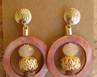 Wine Pearl Ring Earring