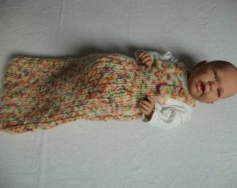 Baby sleeping bag cocoon Merino Wool knitted 60 cm baby sleeping bag wool