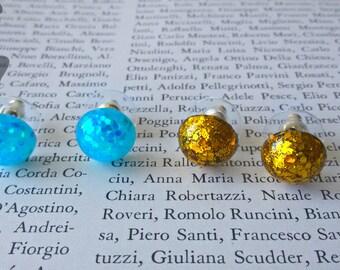 Glitter blu & gold earrings,  Glitter earrings, Small earrings,  Glitter stud earrings, Gift earrings, Glitter resin