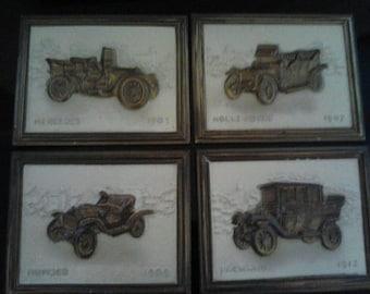 Set of Four Brass Vintage Car Plaques