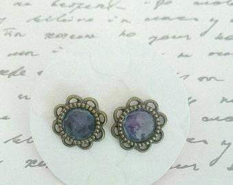ON SALE Bronze & Purple Enamel Stud Earrings - Surgical Steel Posts