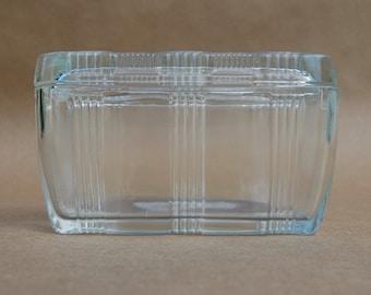 Crystal Hazel Atlas Criss Cross Refrigerator Dish