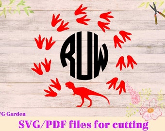 Dinosaur Footprints Monogram SVG File, Dinosaur SVG Monogram, paw footprints svg Vectors  for vinyl cutting, Cricut, SCAL, Cameo