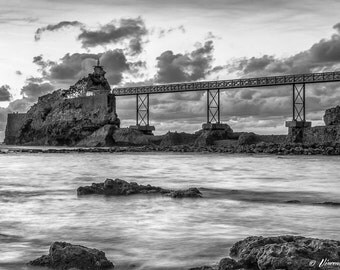 The rock of the Virgin in Biarritz. Photography black and white Biarritz, Fine Art Photography.