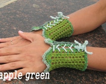 Green knitted fingerless gloves Boho mittens Summer lace cuffs Arm warmers short Pretty mitts Hand knitted Burlesque For her accessories