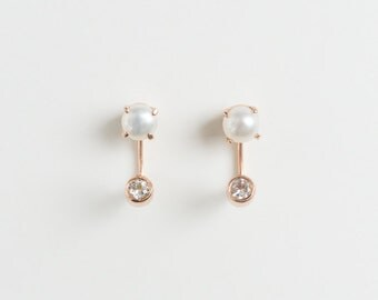 Duo Earring Ear Studs sterling silver 18k gold natural pearl