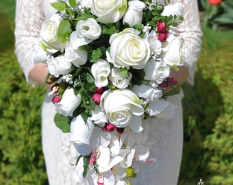 Cascading Wedding Bouquet, White Bridal Bouquet, Silk Roses Bouquet, Silk Flowers, Wedding Flowers