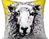 Shabby Chic Sheep Pillow / yellow / farm / sheep / animal / rustic / country/ Decorative Throw Pillow Covers / Mix & Match / Accent / Decor
