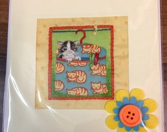Hand Quilted Sewn Card Cat in a Bag