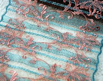 "5 yard 19cm 7.48"" wide green mesh embroidery lace trim ribbon L22K451 free ship"