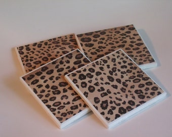Leopard Print Ceramic Tile Coaster Sets