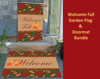 Welcome Fall Garden Flag with Matching Fall Doormat - For Indoor or Outdoor Use.