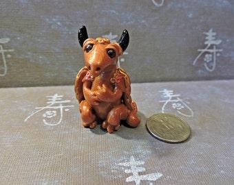 OOAK Polymer Clay Gold Baby Faery Dragon